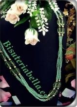 Collar largo en detalles verdes ajustable,elegante doble largo