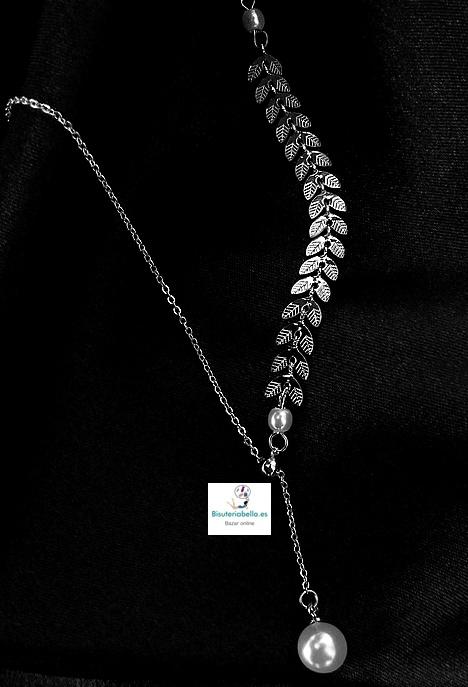 Gargantilla Dorada Cadena y hojas en forma de espiga,con perla colgante