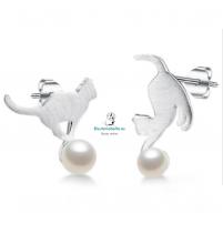 Pendientes gatos jugando plateados con perlas