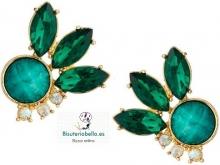 Pendientes pequeños dorados verdes florales con brillantitos
