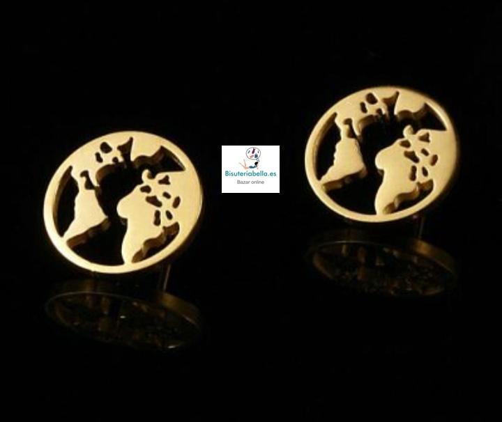 Pendientes dorados pequeños bola del mundo