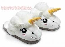 Zapatillas Blancas Unicornio Peluche