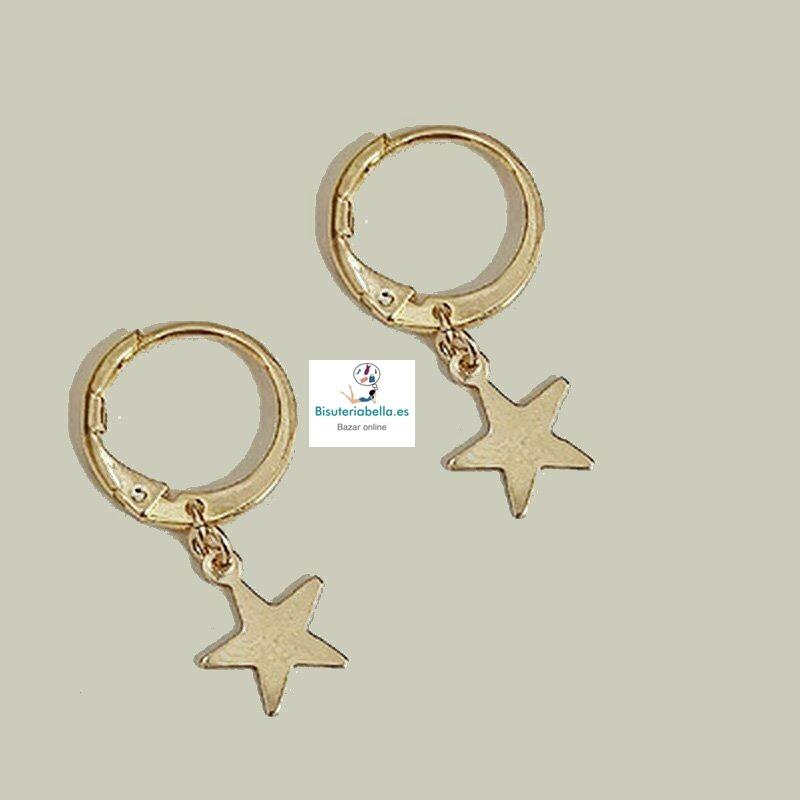 Mini-Pendientes Dorados Aros Estrellas