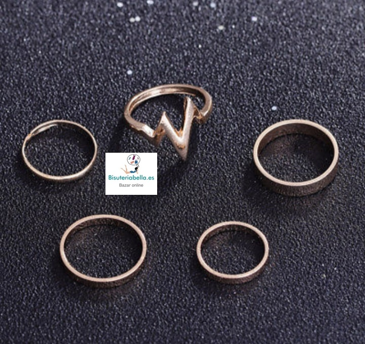 Set 5 anillos midi lisos, electrocardiograma
