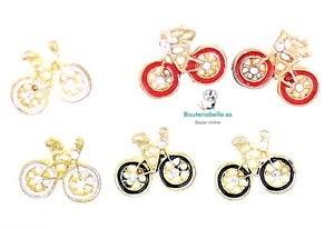 Pendientes bicicleta  dorados pequeños tono a elegir