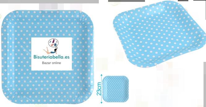 Pack 3 Bandejas de carton medianas Azules topitos blancos
