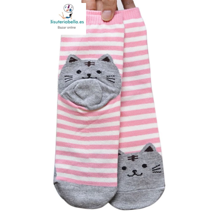 Calcetines rallas dibujo gatito a elegir Kawaii