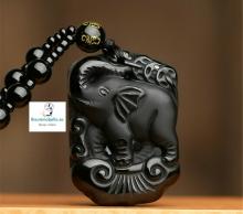 Colgante Elefante feliz Piedra Natural Obsidiana