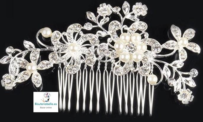 Peineta Floral Arreglo Boda Plateada perlas y brillantitos