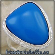 Anillo plateado claro piedra Turquesa azul Talla.8