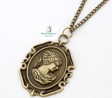 Colgante bronce mediano Medalla Dama antigua Epoca