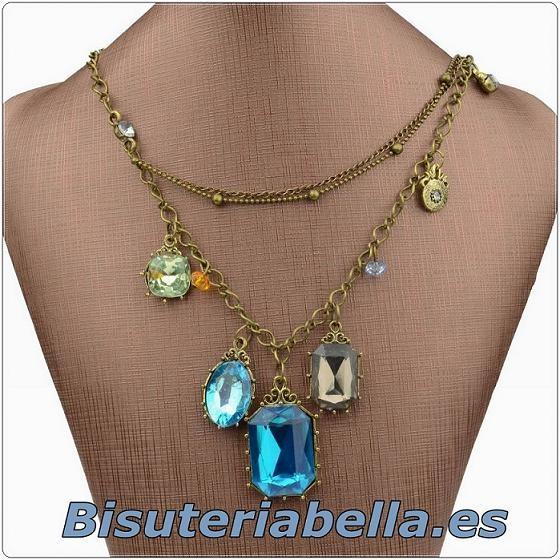 Collar varias cadenas bronce con piedras bonitas azuladas entre otros abalorios
