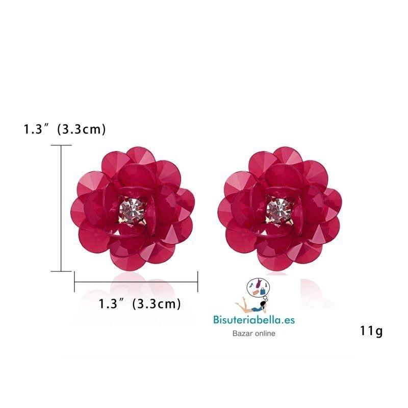 Pendientes Flor grande efecto Cristal a elegir