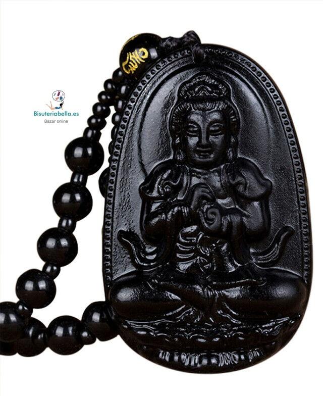 Colgante Buda a elegir natural Piedra Obsidiana Negro