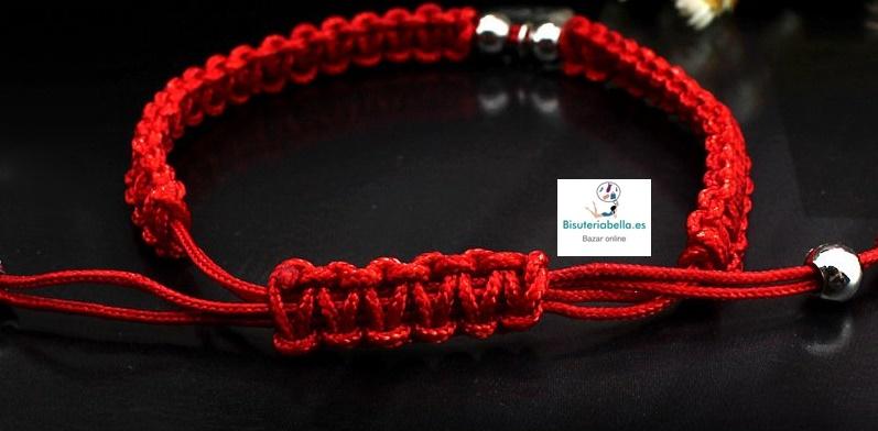 Pulsera Cordon trenzado rojo Corazon ,Madre