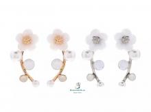Pendientes pequeños flor y perlas a elegir