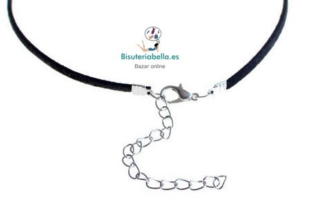 Gargantilla larga,cordon negro con perlitas colgantes