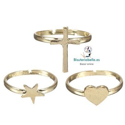Set 3  anillos corazón, cruz y estrella dorados