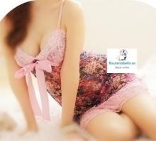 Camison corto encaje y estampado rosa floral S-M