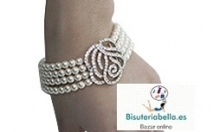 Pulsera ajustable Bodas,perlas blancas en fila y rosa