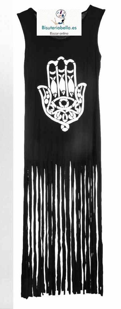 Vestido negro liso Mano fatima blanca enmedio con flecos Tallas elegir