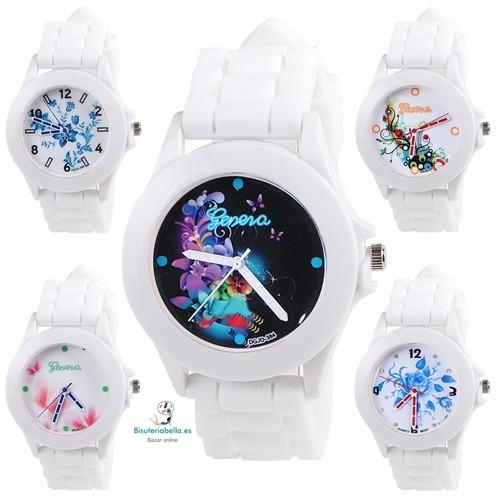 Reloj silicona blanca esfera floral colores metalizados