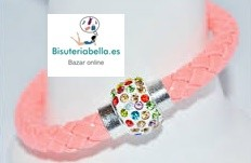 Pulsera Polipiel trenzada imantada con brillantitos colores