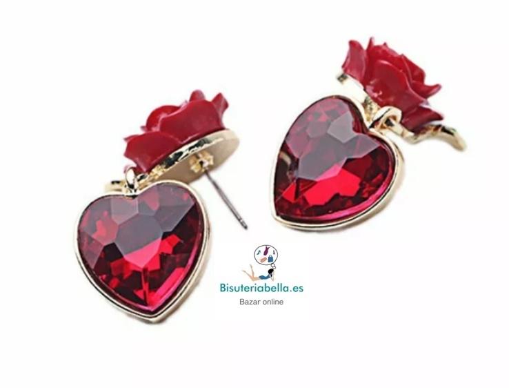 Pendientes dorados corazones y rosa