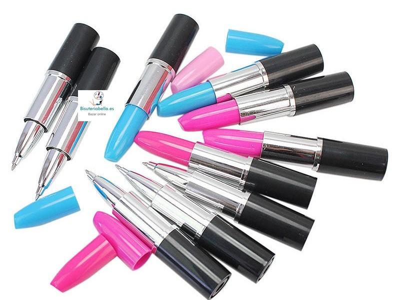 Boligrafos en forma de pintalabios a elegir