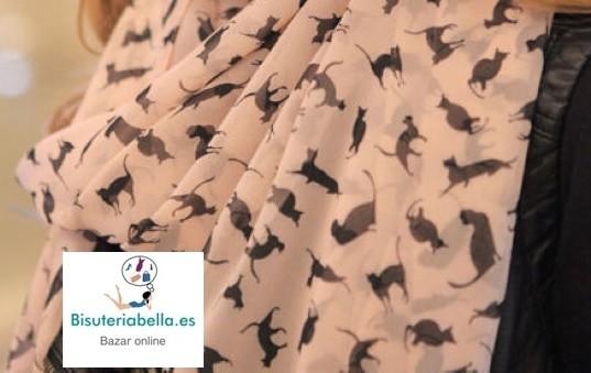 Pañuelo largo de gasa con dibujo gatitos tono a elegir