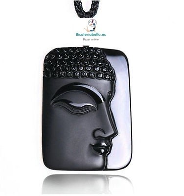 Colgante Cara Perfil Buda natural Piedra Obsidiana Negro