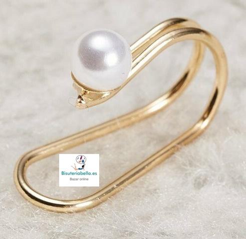 Pendiente dorado en clip  abierto perla