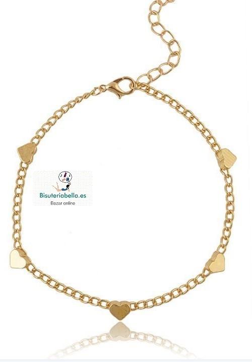 Pulsera cadenas finas dorada con corazones