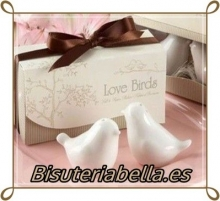 1 par de Salero y pimentero de regalo para boda(Palomas que se besan con detalles)