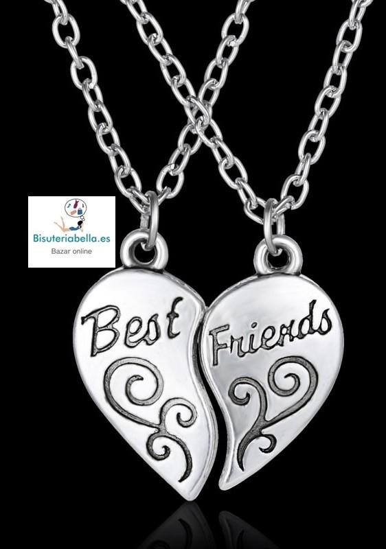 Colgante plateado doble cadena 2 mitades corazon amistad