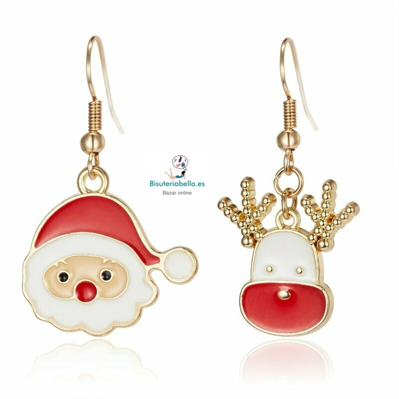Pendientes detalles Navideños Papa Noel y Reno