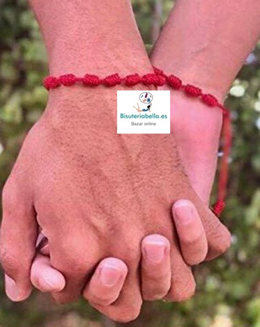 Pulsera Roja Cordones,7 Nudos Amistad- Amor