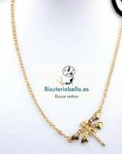 Diadema ajustable dorada colgante libelula mediana con brillantitos y cadena