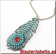 Collar largo en bronce en forma de hoja con brillantitos de colores y turquesas