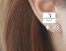 Pendientes dobles Perla y floral