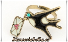 Anillo mensajero bronce ajustable pajarito negro carta amor T.5