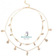 Multi-colgante 2 cadenas doradas,detalles,estrellas y lunas