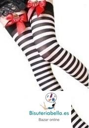 Medias tipo calcetin largas rallas negras y blancas Estilo Alicia con lacitos rojos y detalles