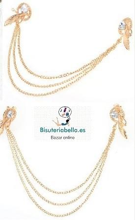 Prendedor de lado a lado dorado con detalles brillantes y cadenas