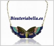 Colgante bronce mediano,mariposa coctel de colores
