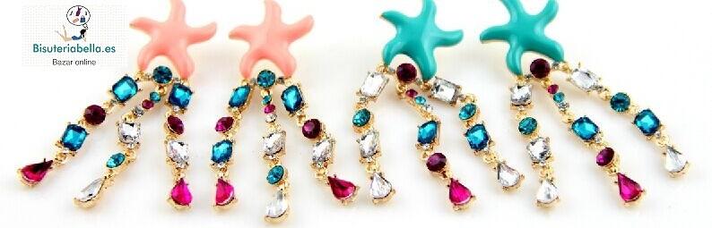 Pendientes estrellas marinas dorados colgantes brillantitos