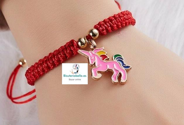 Pulsera trenzada cordon rojo,Unicornio a elegir