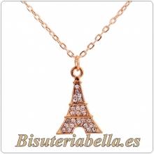 Colgante dorado Torre Eiffel con brillantitos blancos mediano