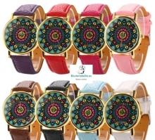 Reloj Azteca colores vivos formas geometricas