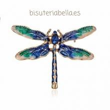 Broche mediano dorado libélula verde y azul